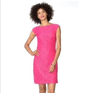 Chaps pink lace sheath dress